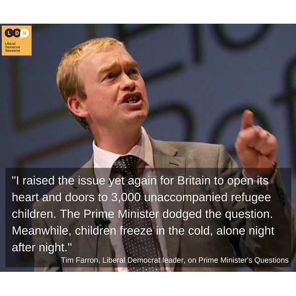 Tim Farron speaking on unaccompanied refugees (Liberal Democrat Newswire)