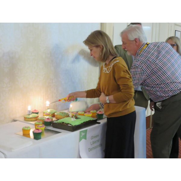 Wera Hobhouse lights 30th Birthday candles for GLD (Liz Carver)