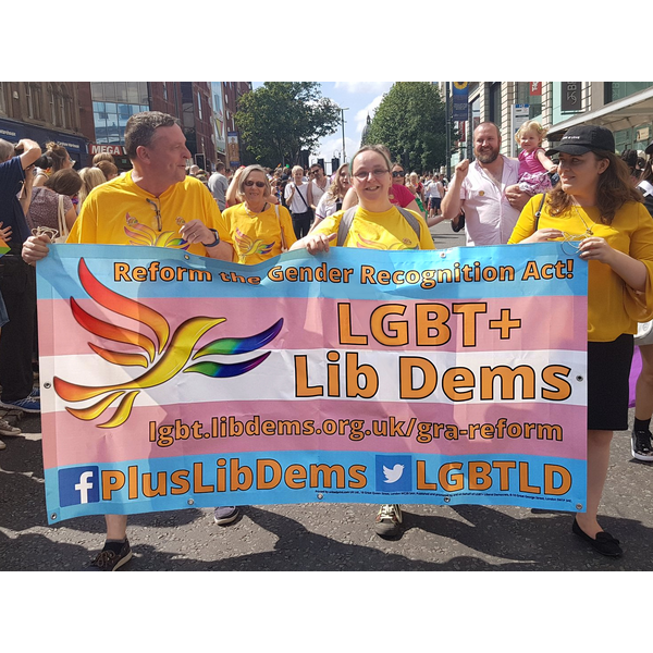 Lib Dems at Leeds Pride 2018 with Gender Reform Act Banner