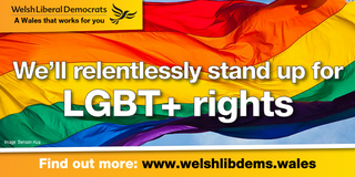 Welsh Lib Dems LGBT+ Logo (Rainbow by Benson Kua is licensed under CC BY-SA 2.0 https://www.flickr.com/photos/bensonkua/4988338912)